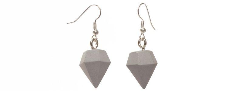 Beton Style -Ohrhänger Diamant