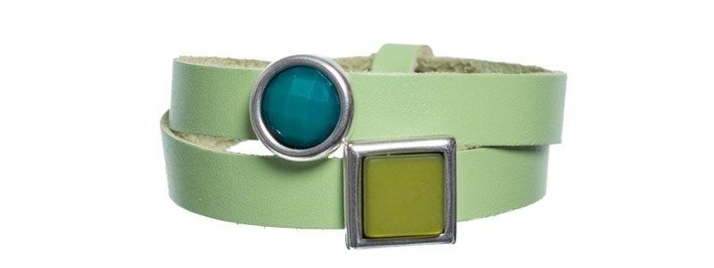 Leder-Armband mit Sliderperlen doppelt Pistazie