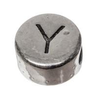 Metallperle, rund, Buchstabe Y, Durchmesser 7 mm, versilbert