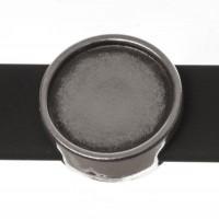Schiebeperle / Slider mit Fassung für Cabochons 12 mm, 14 x 5,5 mm, versilbert