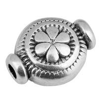 Metallperle Rund mit Blume, 10 x 8 mm, Lochdurchmesser 1,8 mm, versilbert