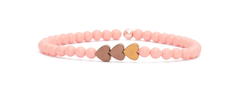 Armband mit rosevergoldeten Perlen Herzen