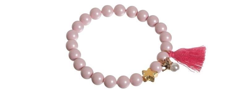 Quastenarmband Stern pink