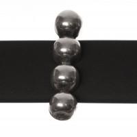 Metallperle Slider / Schiebeperle Spacer groß , versilbert, ca. 17 x 4 mm