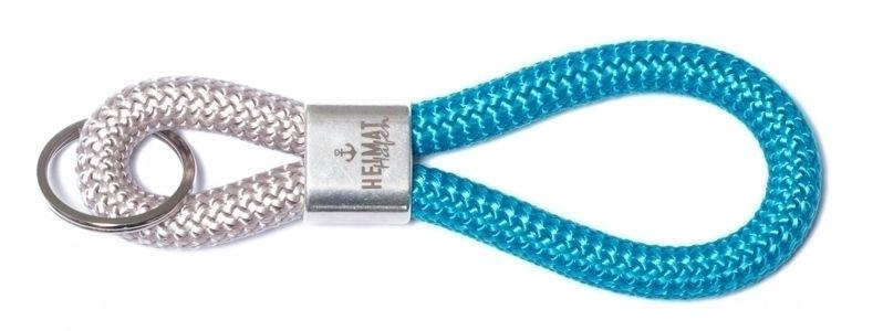 Schlüsselanhänger aus Segelseil Heimathafen Blau-Grau