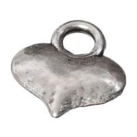 Metallanhänger Herz, ca. 10 mm x 9 mm, versilbert