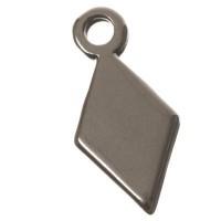 Metallanhänger Raute, 14 x 7 mm, versilbert