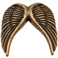 Metallperle Engelsflügel, 24,5 x 24,5 mm, bronzefarben