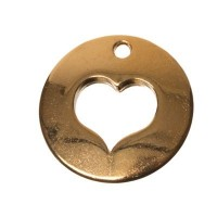 Metallanhänger Herz, 16 x 16 mm, vergoldet