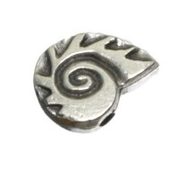 Metallperle Schnecke, ca. 11 mm, versilbert