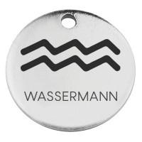 """Edelstahl Anhänger, Rund, Durchmesser 15 mm, Motiv Sternzeichen """"Wassermann"""", silberfarben"""