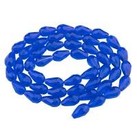 Glasfacettperlen Tropfen, 15 x 10 mm, blau, Strang mit ca. 50 Perlen