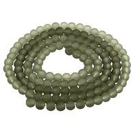 Glasperlen, gefrostet, Kugel, grau, Durchmesser 6 mm, Strang mit ca. 140 Perlen