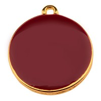 Metallanhänger Rund, Durchmesser 19 mm, bordeaux emailliert, vergoldet