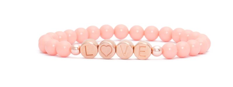 Armband mit rosevergoldeten Buchstabenperlen Love