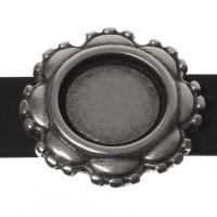 Fassung Slider / Schiebeperle für runde Cabochons (11 mm), versilbert