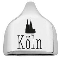 """Endkappe mit Gravur """"Köln"""" mit Dom, 22,5 x 23 mm, versilbert, geeignet für 10 mm Segelseil"""