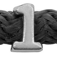 Grip-It Slider Zahl 1, für Bänder bis 5mm Durchmesser, versilbert