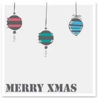 """Schmuckkarte """"Merry Xmas"""", hellgrau mit Christbaumkugeln, quadratisch, Größe 8,5 x 8,5 cm"""