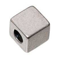 Metallperle Würfel, ca. 6 mm, versilbert