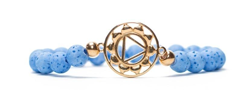 Armband Halschakra vergoldet hellblau