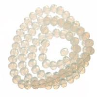 Strang Glasfacett  Rondell, 4 x 6 mm, white opal, Länge des Strangs ca. 40 cm