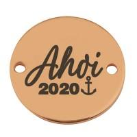 "Coin Armbandverbinder ""Ahoi 2020"", 15 mm, vergoldet, Motiv lasergraviert"