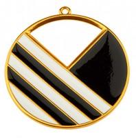 Metallanhänger Rund mit Linien, 43 mm, vergoldet und schwarz und weiß emailliert