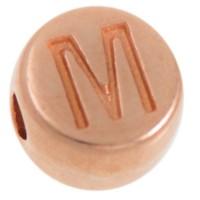 Metallperle, M Buchstabe, rund, Durchmesser 7 mm, rosevergoldet