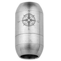 Edelstahl Magnetverschluss für 6 mm Bänder, Verschlussgröße 19 x 10 mm, Motiv Kompassrose, silberfar