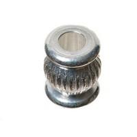 Metallperle, Spacer Olive, ca. 8 mm, versilbert