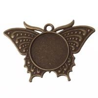 Anhänger für Cabochons Schmetterling, rund 20 mm, bronzefarben