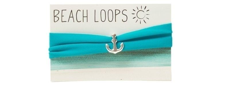 Beach Loop Anker Türkisblau Versilbert