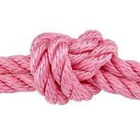 Segelseil gedreht, Durchmesser 10 mm, Länge 1 m, rosa