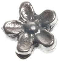 Metallperle Blume, ca. 7 mm, versilbert