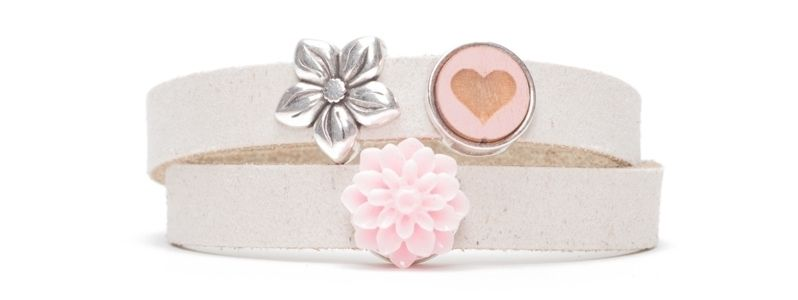 Craft Lederarmband Blume und Herz