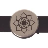Metallperle Slider Ornament, versilbert, ca. 18 mm, Durchmesser Fädelöffnung:  10,2 x 2,2 m