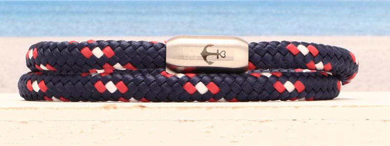 Armband mit Segelseil 6 mm und Magnetverschluss aus Edelstahl Anker doppelt