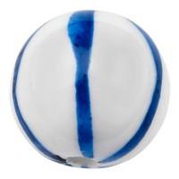 Porzellanperle, Kugel, blau und weiß gemustert, Durchmesser 14,5 mm