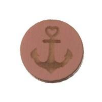 Holzcabochon, rund, Durchmesser 12 mm, Motiv Anker, rosa