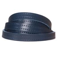 Lederband mit Motiv Punkte, 10 x 2 mm, Länge 1 m, dunkelblau