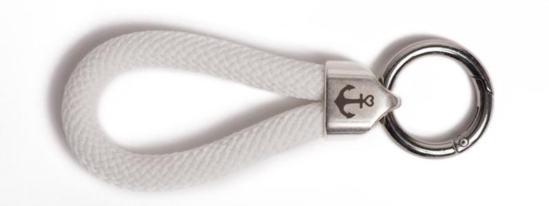 Maritimer Schlüsselanhänger aus Segeltau Weiß