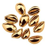 Cowrie Muschelanhänger, galvanisiert, goldfraben, 18,5 x 11,0 mm, 10 Stück