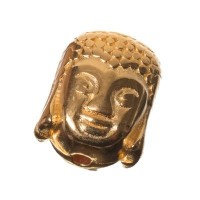 Metallperle Buddha, 10,5 x 9 mm, vergoldet