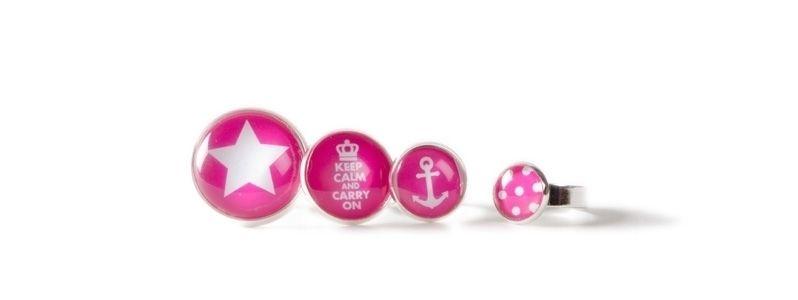 Ringe mit Glascabochon Pink