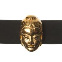 Metallperle Mini-Slider Buddha, vergoldet, 9,0 x 6,0 mm, Durchmesser Fädelöffnung:  5,2 x 2,0 m