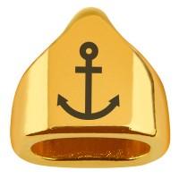 """Endkappe mit Gravur """"Anker"""", 13 x 13,5 mm, vergoldet, geeignet für 5 mm Segelseil"""