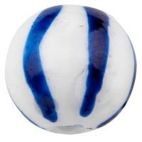 Porzellanperle, Kugel, blau und weiß gemustert, Durchmesser 10 mm