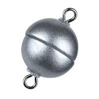 Magic-Power-Magnetverschluss Kugel 8 mm, mit Ösen, silberfarben, matt