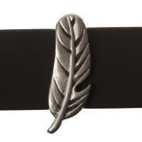 Metallperle Slider Feder, versilbert, ca. 22,5 x 8,0 mm
